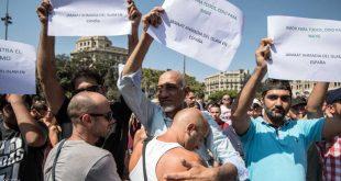 مئات المسلمين يتظاهرون ضد الإرهاب في برشلونة