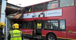 """شاهد: 6 مصابين بحادث تحطم باص بالقرب من """"كالفام جانكشن"""" في لندن"""