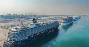 دبي تستقبل 6 سفن سياحية حملت 60 ألف سائح في يوم واحد في ميناء راشد